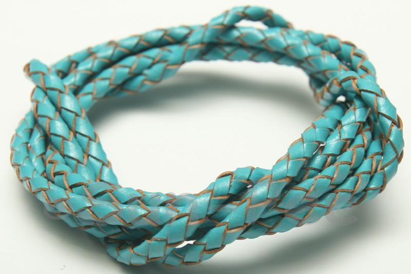 Sky Blue 3mm Braided Genuine Hide Leather Cord 1m - 5m