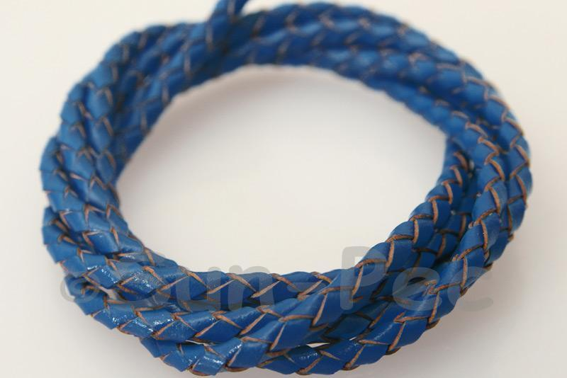 Sapphire 3mm Braided Genuine Hide Leather Cord 1m - 5m