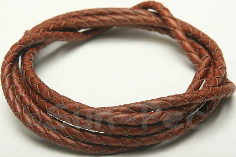 Coffee 4mm Braided Genuine Hide Leather Cord 1m - 5m