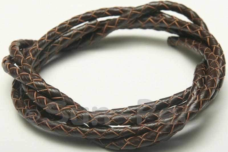Dark coffee 4mm Braided Genuine Hide Leather Cord 1m - 5m