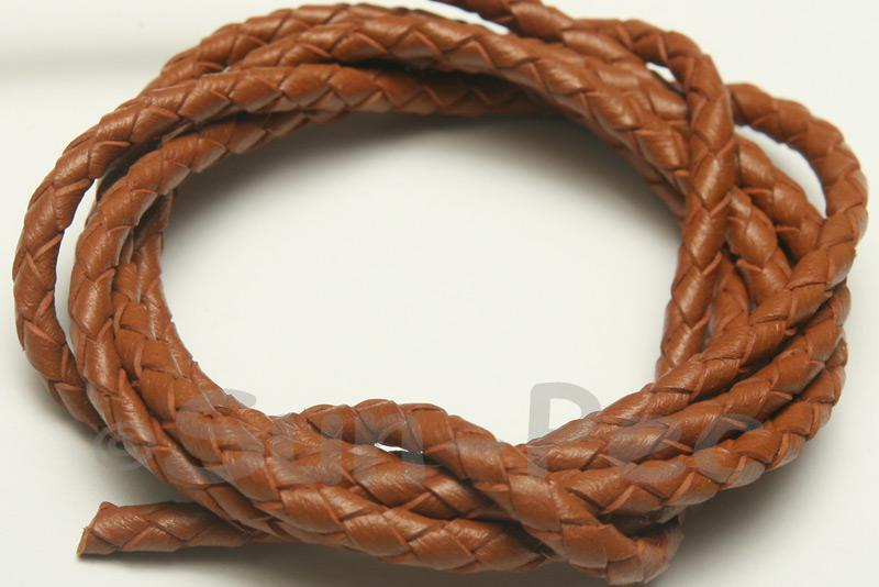 Tan 4mm Braided Genuine Hide Leather Cord 1m - 5m