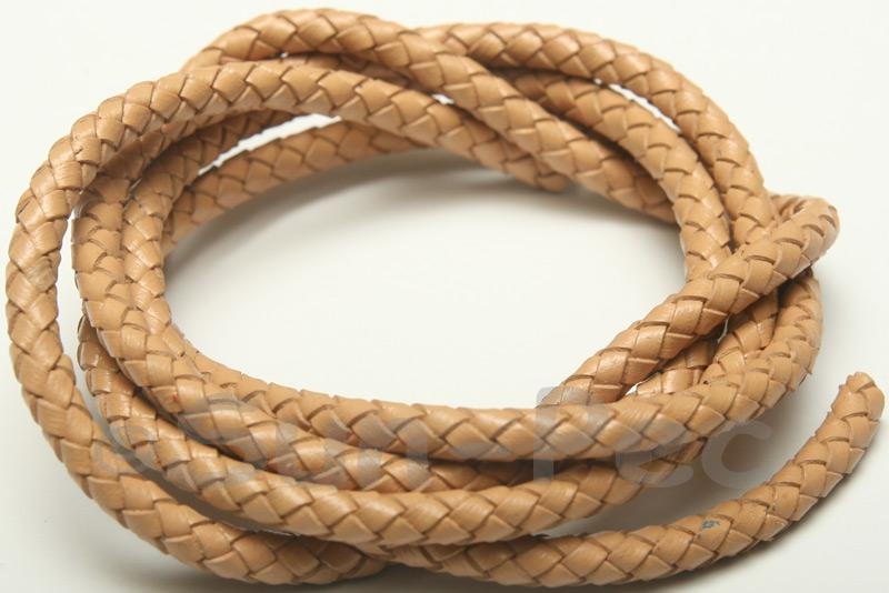 Beige 5mm Braided Genuine Hide Leather Cord 1m - 5m