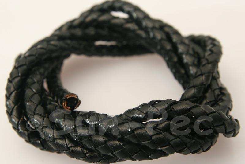 Black 5mm Braided Genuine Hide Leather Cord 1m - 5m