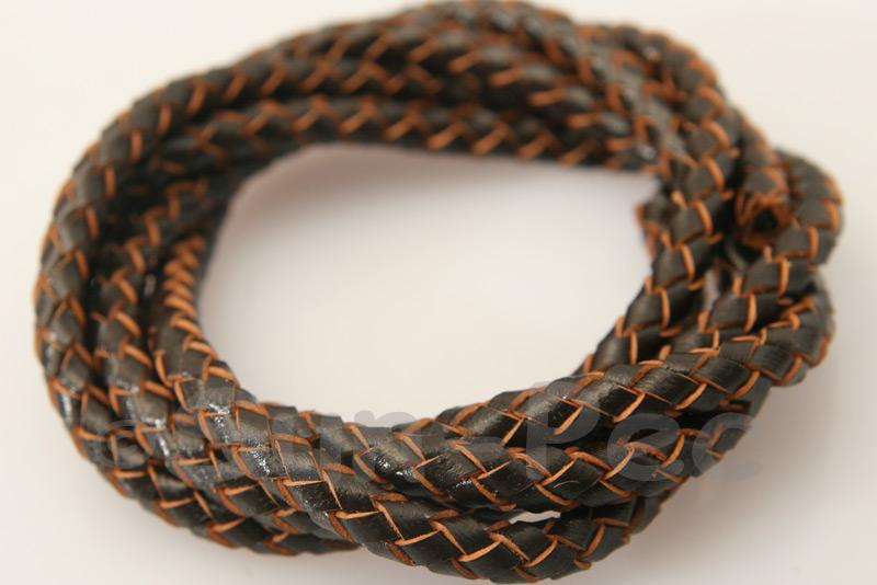 Dark coffee 5mm Braided Genuine Hide Leather Cord 1m - 5m