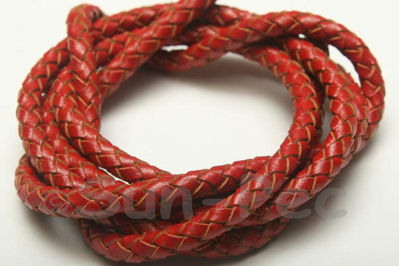 Red 5mm Braided Genuine Hide Leather Cord 1m - 5m