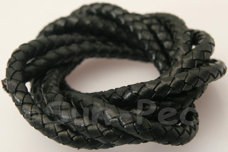 Black 6mm Braided Genuine Hide Leather Cord 1m - 5m