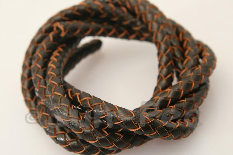 Dark coffee 6mm Braided Genuine Hide Leather Cord 1m - 5m