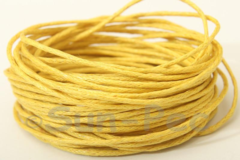 Yellow 1mm Smooth Coated Hemp Cord 5m - 60m