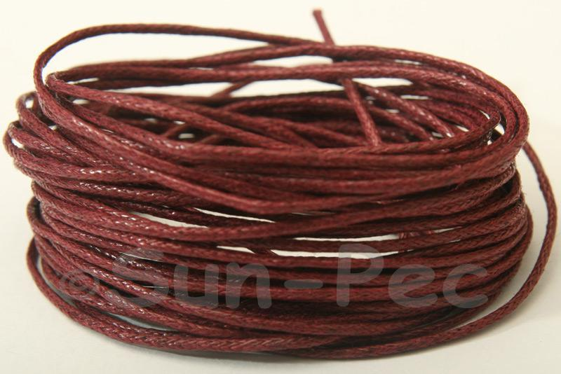 Burgundy 1mm Smooth Coated Hemp Cord 5m - 60m