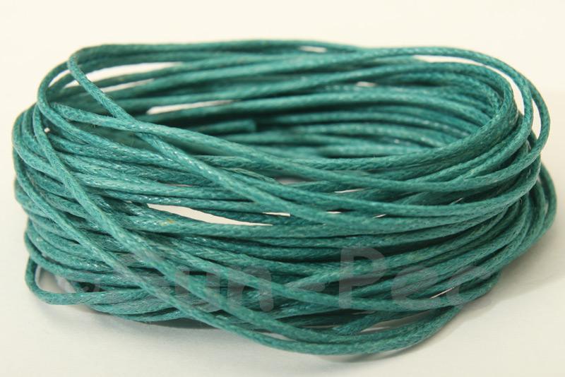 Blue-Green 1mm Smooth Coated Hemp Cord 5m - 60m