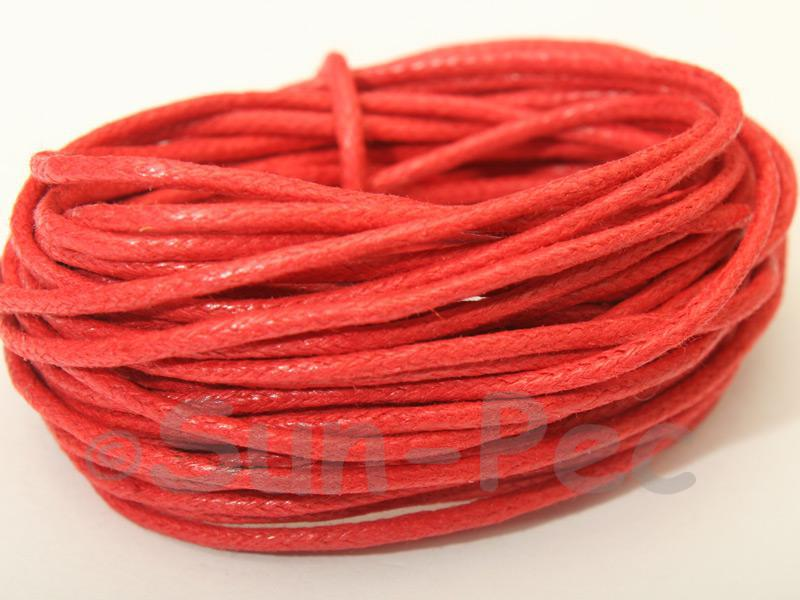 Red 1.5mm Smooth Coated Hemp Cord 5m - 50m