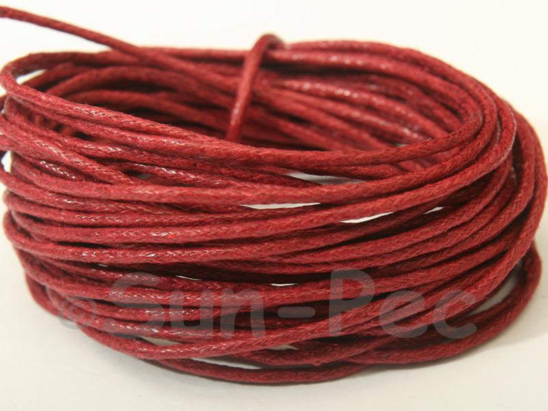 Wine Red 1.5mm Smooth Coated Hemp Cord 5m - 50m