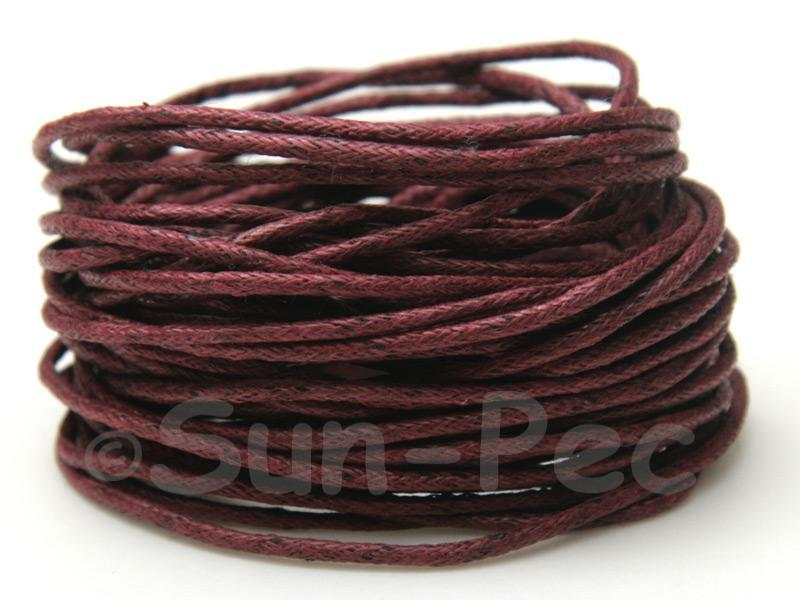 Burgundy 1.5mm Smooth Coated Hemp Cord 5m - 50m