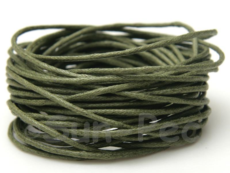 Khaki Green 1.5mm Smooth Coated Hemp Cord 5m - 50m