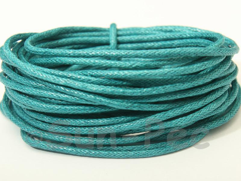 Blue-Green 1.5mm Smooth Coated Hemp Cord 5m - 50m