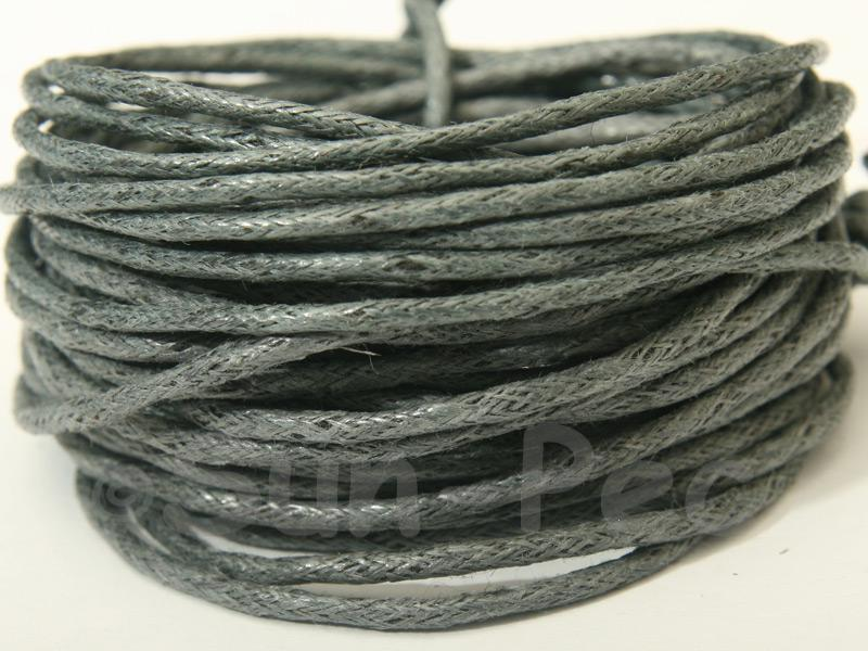 Grey 1.5mm Smooth Coated Hemp Cord 5m - 50m