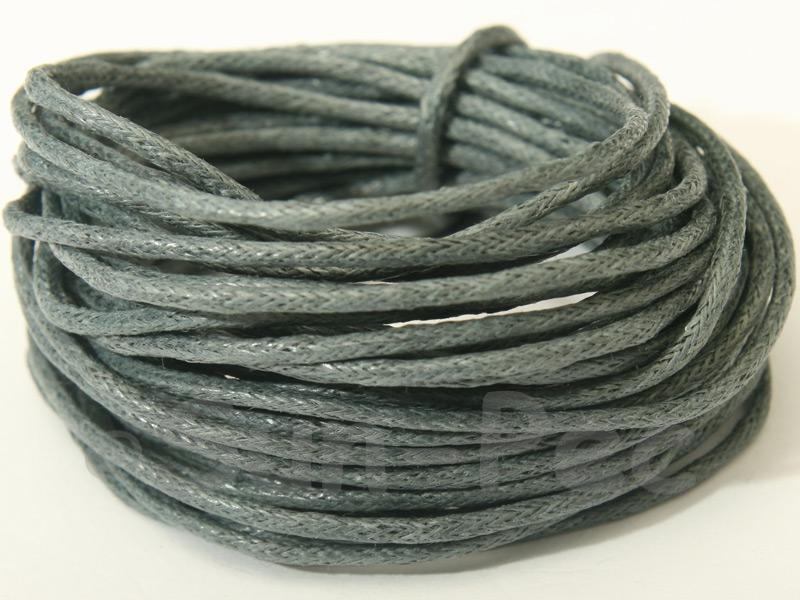 Steel Grey 1.5mm Smooth Coated Hemp Cord 5m - 10m
