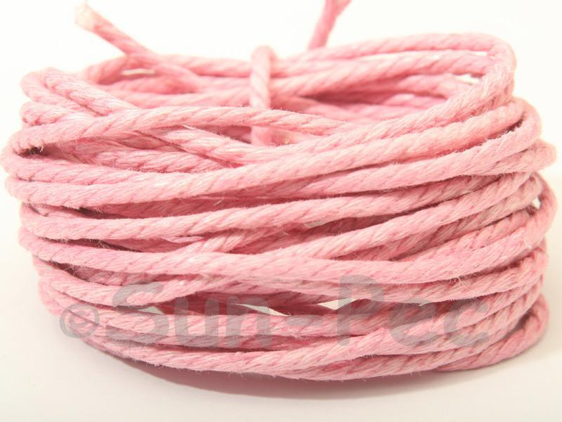 Pink (Twisted) 2mm Smooth Coated Hemp Cord 2m - 30m