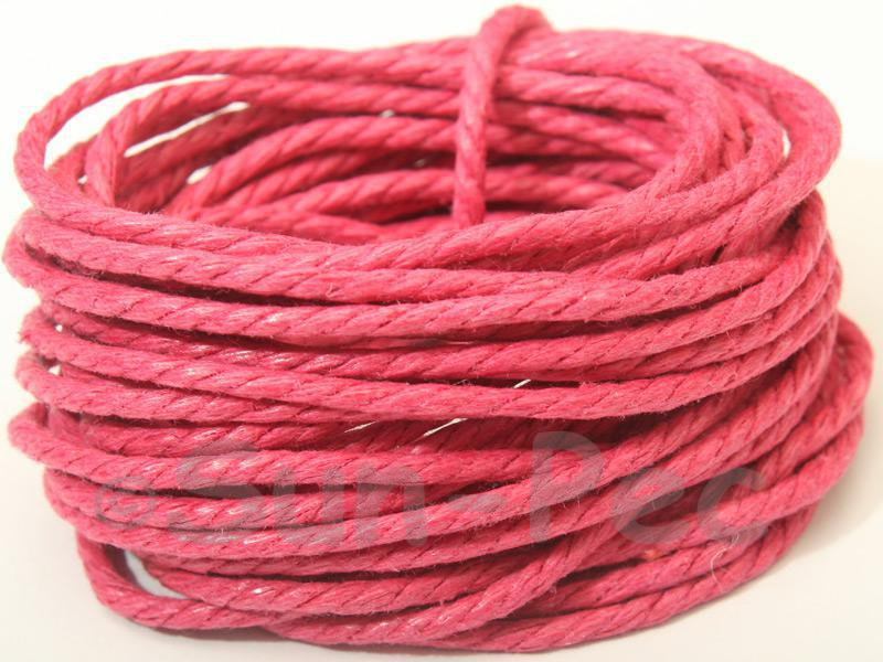 Rose (Twisted) 2mm Smooth Coated Hemp Cord 2m - 40m