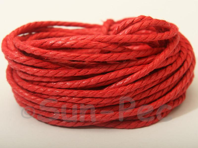 Red (Twisted) 2mm Smooth Coated Hemp Cord 2m - 20m