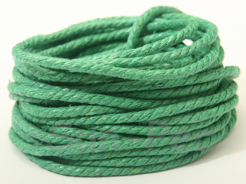 Green (Twisted) 2mm Smooth Coated Hemp Cord 2m - 10m