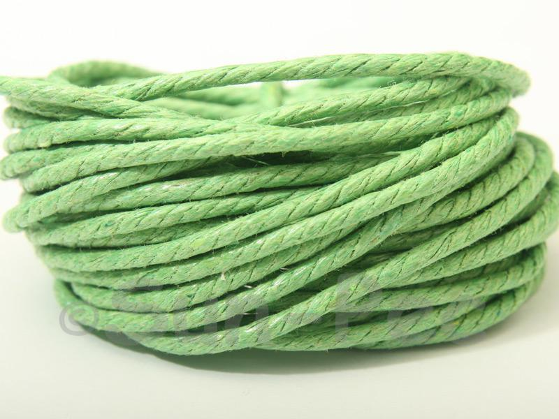 Grass-green (Twisted) 2mm Smooth Coated Hemp Cord 2m - 50m
