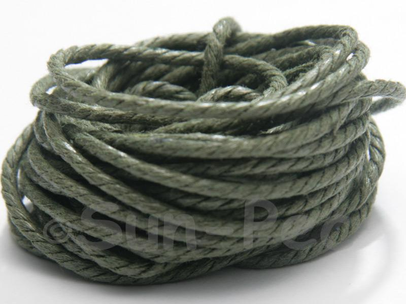 Khaki Green (Twisted) 2mm Smooth Coated Hemp Cord 2m - 30m