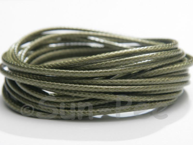 Khaki Green 2mm Coated Polyester Cord (snakeskin style) 5m - 20m