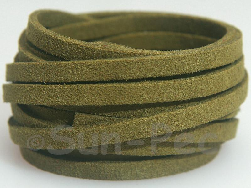 Army Green 5mm Flat Faux Suede Lace Leather Cord 1 meter 1pcs - 10pcs