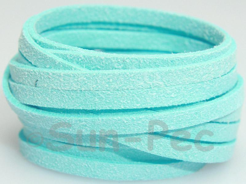 Azure 5mm Flat Faux Suede Lace Leather Cord 1 meter 1pcs - 10pcs