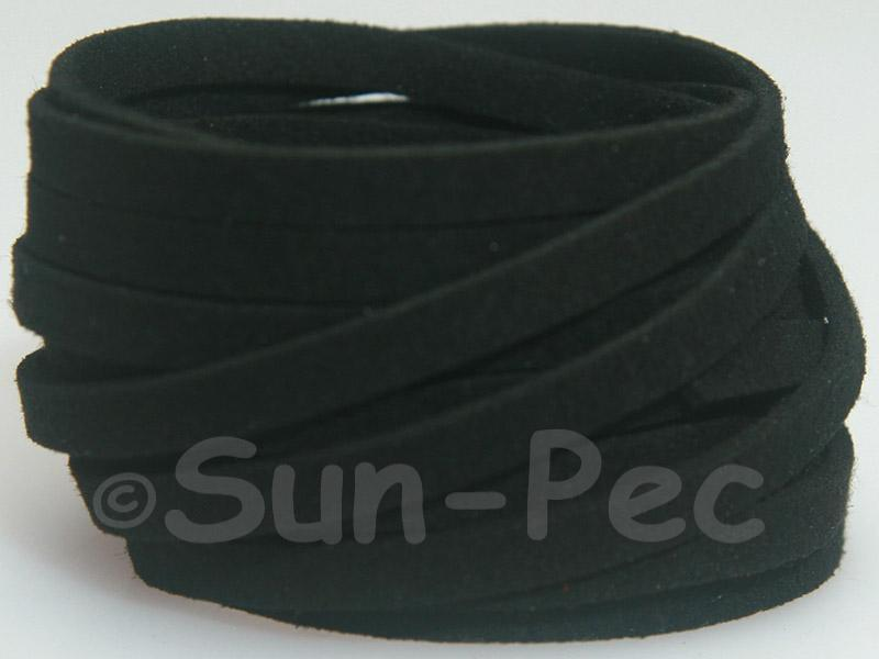 Black 5mm Flat Faux Suede Lace Leather Cord 1 meter 1pcs - 10pcs