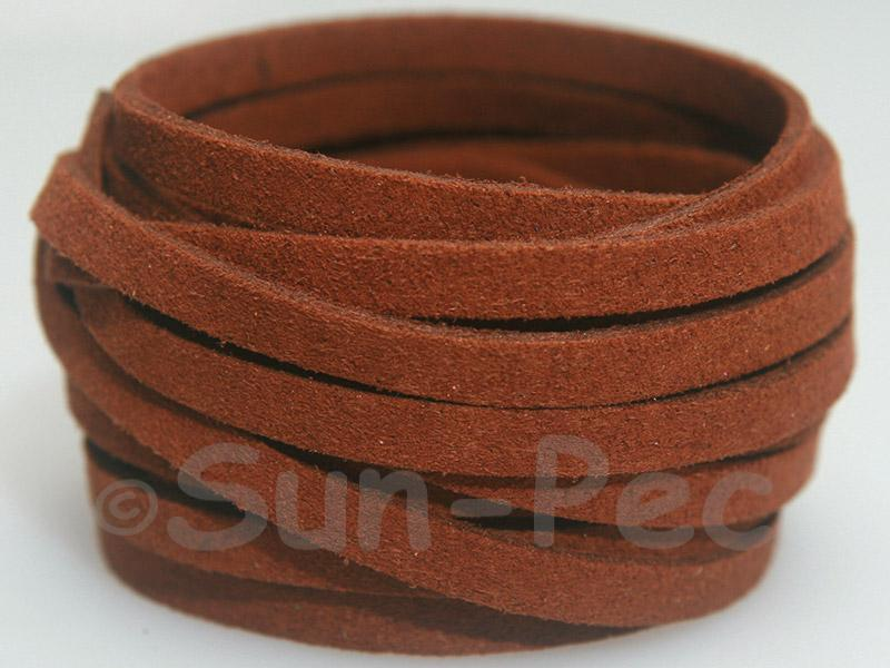 Coffee 5mm Flat Faux Suede Lace Leather Cord 1 meter 1pcs - 10pcs