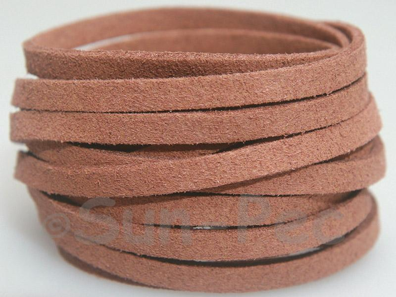 Camel 5mm Flat Faux Suede Lace Leather Cord 1 meter 1pcs - 10pcs
