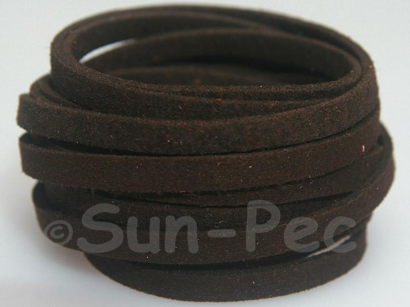 Dark coffee 5mm Flat Faux Suede Lace Leather Cord 1 meter 1pcs - 10pcs