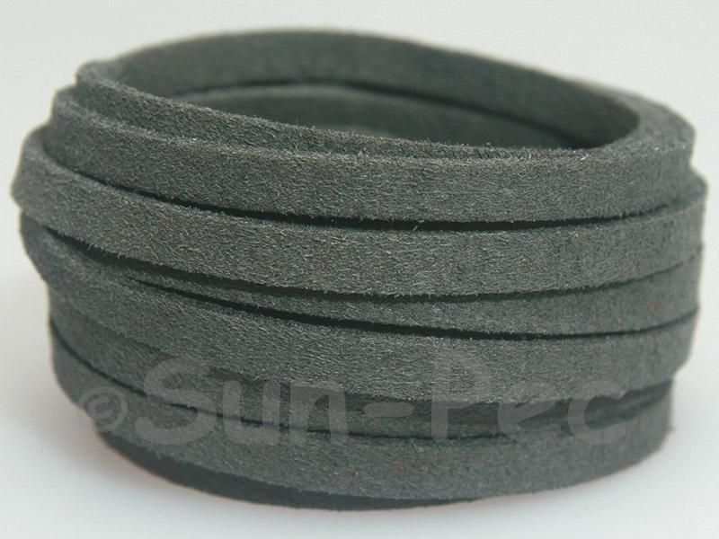 Dark gray 5mm Flat Faux Suede Lace Leather Cord 1 meter 1pcs - 10pcs