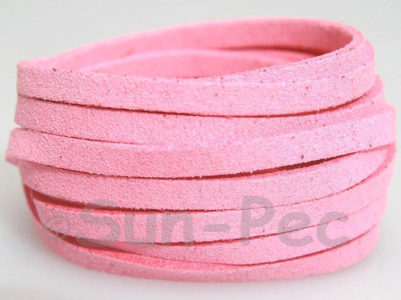 Deep pink 5mm Flat Faux Suede Lace Leather Cord 1 meter 1pcs - 10pcs