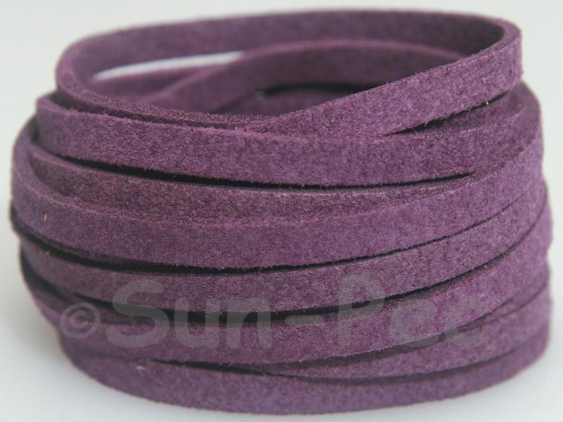 Deep Purple 5mm Flat Faux Suede Lace Leather Cord 1 meter 1pcs - 10pcs