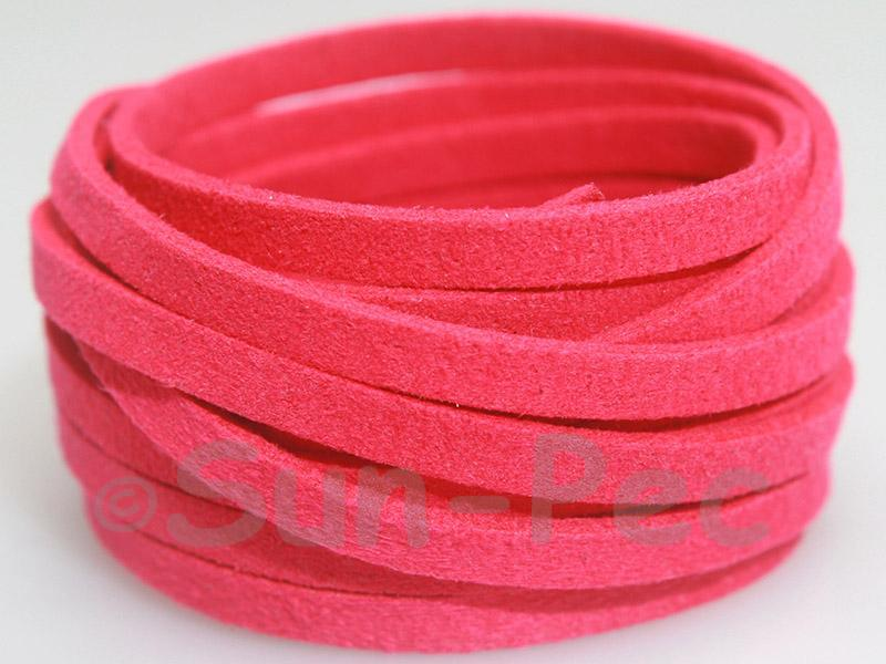 Deep Rose 5mm Flat Faux Suede Lace Leather Cord 1 meter 1pcs - 10pcs