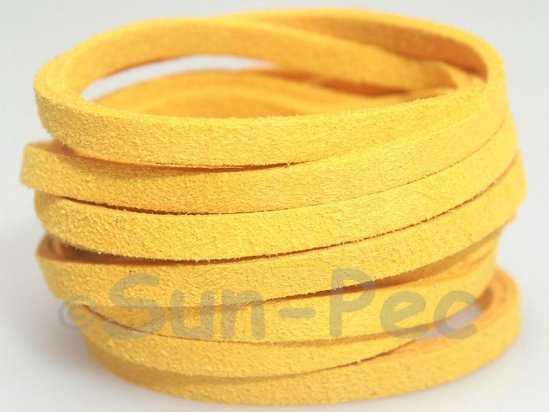 Golden Yellow 5mm Flat Faux Suede Lace Leather Cord 1 meter 1pcs - 10pcs