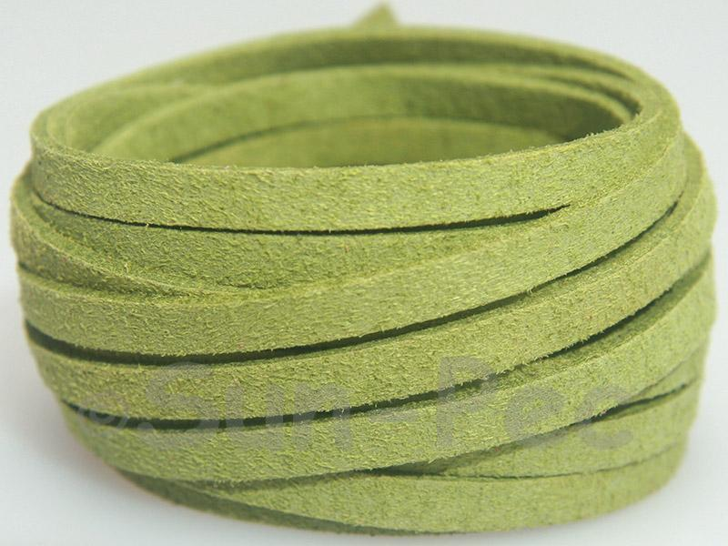 Grass Green 5mm Flat Faux Suede Lace Leather Cord 1 meter 1pcs - 10pcs
