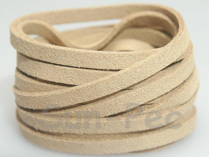 Ivory 5mm Flat Faux Suede Lace Leather Cord 1 meter 1pcs - 10pcs
