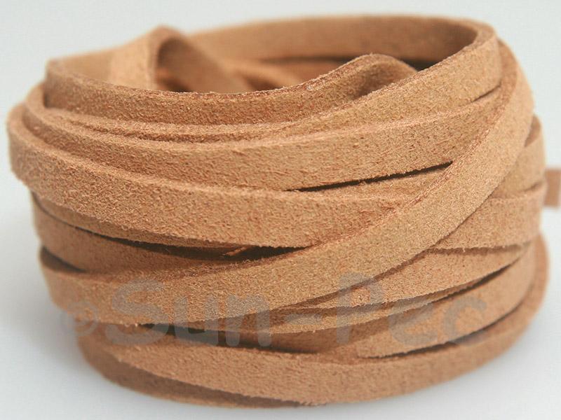 Khaki 5mm Flat Faux Suede Lace Leather Cord 1 meter 1pcs - 10pcs