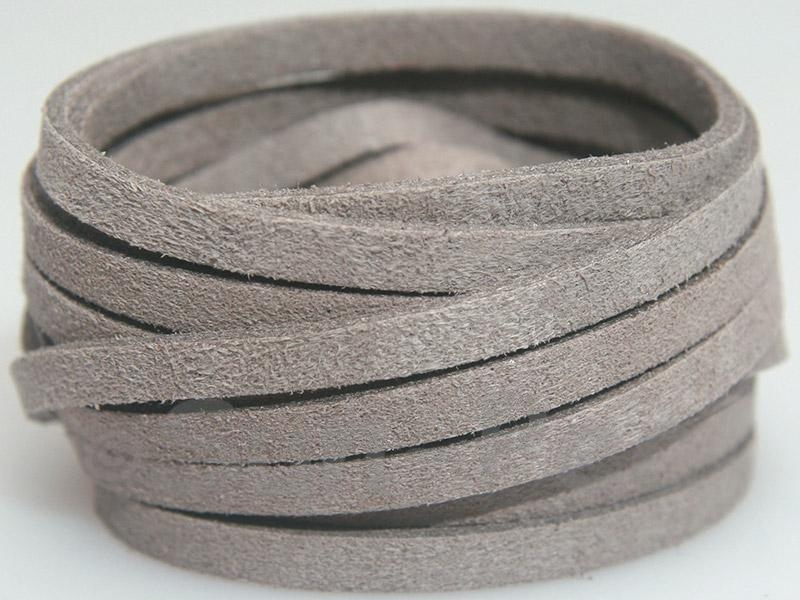 Light gray 5mm Flat Faux Suede Lace Leather Cord 1 meter 1pcs - 10pcs