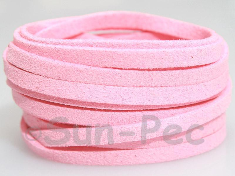 Light Pink 5mm Flat Faux Suede Lace Leather Cord 1 meter 1pcs - 10pcs
