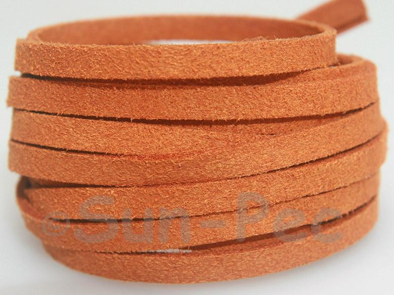 Orange 5mm Flat Faux Suede Lace Leather Cord 1 meter 1pcs - 10pcs