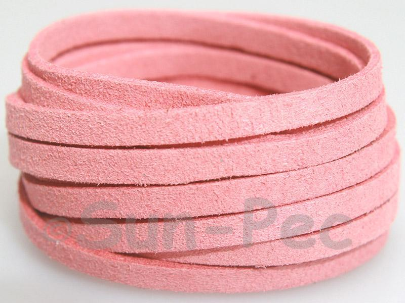 Pink 5mm Flat Faux Suede Lace Leather Cord 1 meter 1pcs - 10pcs