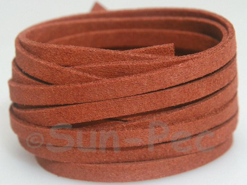 Red Coffee 5mm Flat Faux Suede Lace Leather Cord 1 meter 1pcs - 10pcs