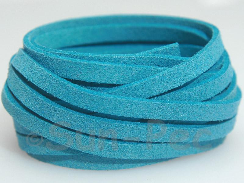 Sky Blue 5mm Flat Faux Suede Lace Leather Cord 1 meter 1pcs - 10pcs