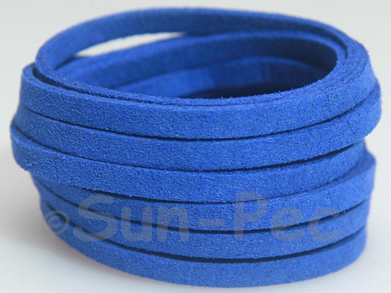 Sapphire 5mm Flat Faux Suede Lace Leather Cord 1 meter 1pcs - 10pcs