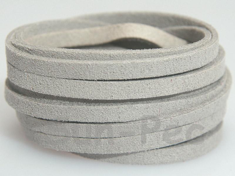 Silver 5mm Flat Faux Suede Lace Leather Cord 1 meter 1pcs - 10pcs